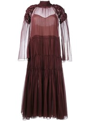 Chloe Sheer Ruched Dress Red