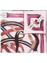 Bally Belt Print Scarf Pink And Purple