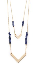 Heather Hawkins Double Chevron Necklace Lapis
