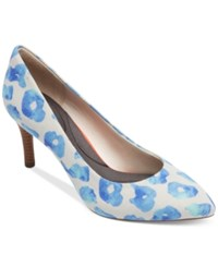 Rockport Women's Total Motion Pointed Toe Pumps Women's Shoes Blue Leo Canvas