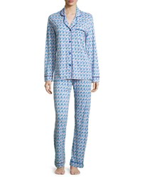 Cosabella Bella Printed Long Sleeve Pajama Set Purple Blue