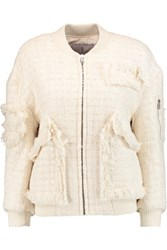 Goen J Tweed Bomber Jacket Ivory