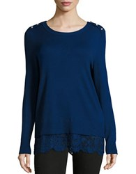 Karl Lagerfeld Crewneck Long Sleeve Knit Top Atlantic