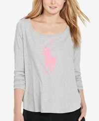 Polo Ralph Lauren Pink Pony Long Sleeve T Shirt Heather Grey