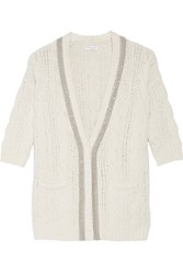 Brunello Cucinelli Embellished Cable Knit Wool Blend Cardigan Light Gray