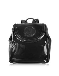 Armani Jeans Faux Patent Leather Backpack Black