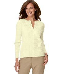 Alfred Dunner Petite Cable Knit Cardigan Ivory