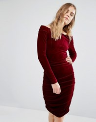 Gestuz Off Shoulder Velvet Dress Purple