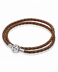 Pandora Design Pandora Bracelet Brown Leather Double Wrap With Sterling Silver Clasp Moments Collection Brown Silver