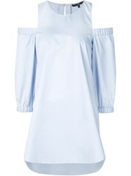 Tibi 'Cold Shoulder' Tunic Blue