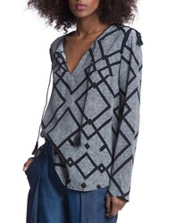 Plenty By Tracy Reese Printed Long Sleeve Top Grey Black