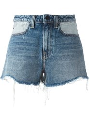 Alexander Wang Distressed Denim Shorts Blue
