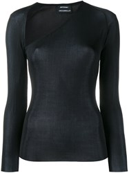 Anthony Vaccarello Asymmetric Neck Long Sleeve Top Black