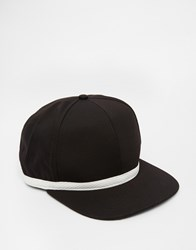 Asos Snapback Cap In Black Mesh With Contrast White Tape Black
