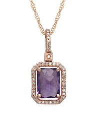 Lord And Taylor Amethyst Diamond 14K Rose Gold Pendant Necklace