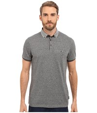 Ted Baker Zoomba Printed Woven Collar Polo Charcoal Men's Clothing Gray