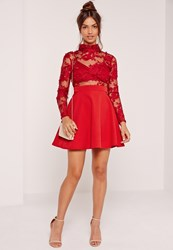 Missguided Lace Long Sleeve Skater Dress Red