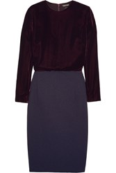 Tom Ford Velvet And Stretch Crepe Dress Plum