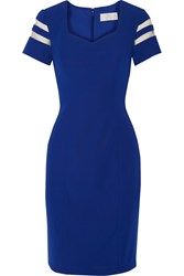 Mikael Aghal Mesh Trimmed Crepe Dress Blue