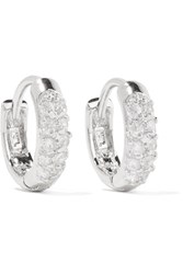 Kenneth Jay Lane Rhodium Plated Cubic Zirconia Hoop Earrings Silver