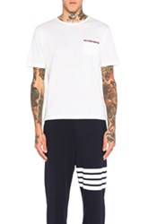 Thom Browne Short Sleeve Mercerized Pique Tee In White