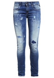 Replay Rose Slim Fit Jeans Destructed Blue Dark Blue Denim