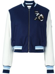 Msgm Striped Detail Bomber Jacket Blue