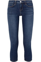 L'agence Juliette Cropped Low Rise Skinny Jeans Mid Denim