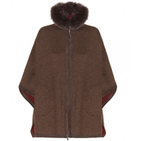 Loro Piana Dusseldorf Cashmere Poncho With Fox Fur Volpe