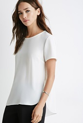 Forever 21 Chiffon Curved Hem Blouse Cream