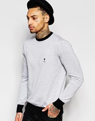 Religion Knitted Jumper With Contrast Trim Grey Marl