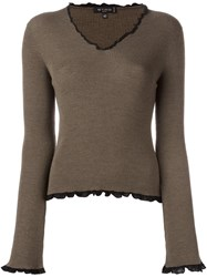 Etro Ruffle Trim Jumper Brown