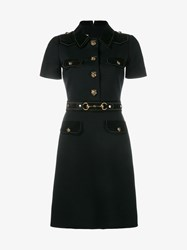 Gucci Short Sleeved Dress With Suede Detailing Black