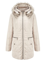 Gerry Weber Faux Fur Trim Hooded Jacket Beige