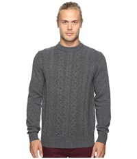 Ben Sherman Long Sleeve Cable Front Crew Neck Sweater Concrete Marl Men's Sweater Gray