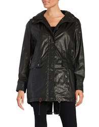 Calvin Klein Faux Fur Trimmed Raincoat Black