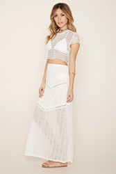 Forever 21 Lovecat Crop Top And Skirt Set