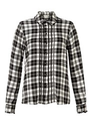 Miss Selfridge Mono Check Pintuck Shirt Multi Coloured