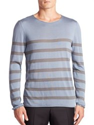 Giorgio Armani Striped Cotton Silk And Cashmere Sweater Light Blue
