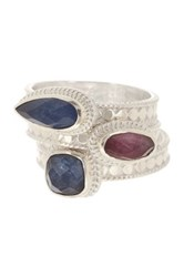 Anna Beck Sterling Silver Ruby And Sapphire Stacking Ring Set Metallic