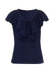 Morgan Ruffle Front Fitted Top Navy