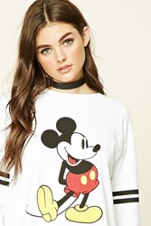 Forever 21 Mickey Mouse Striped Sweatshirt White Black