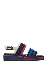 Pre Ss16 Lanvin Flat Ribbed Sole Striped Sandals Black