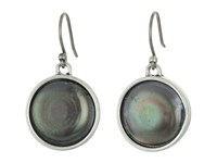 Lucky Brand Pearl Single Drop Earrings Medium Grey Earring Gray