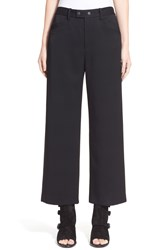 Rag And Bone 'Corey' Wide Leg Wool Blend Crop Pants Black