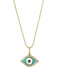 Sydney Evan 14K Diamond Evil Eye Pendant Necklace
