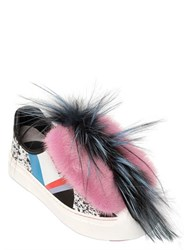 Fendi Fflynn Fox Mink And Leather Sneakers