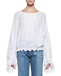 Chloe Pintucked Bishop Sleeve Eyelet Blouse White