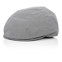 Barneys New York Men's Houndstooth Newsboy Cap Black