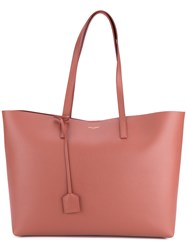 Saint Laurent Leather Shopping Tote Rose Grey